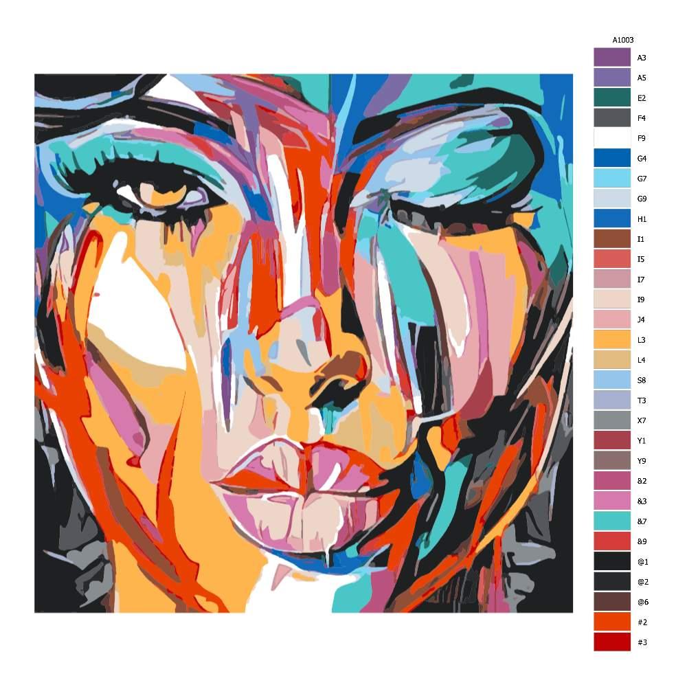 Návod pro malování podle čísel Barevná tvář