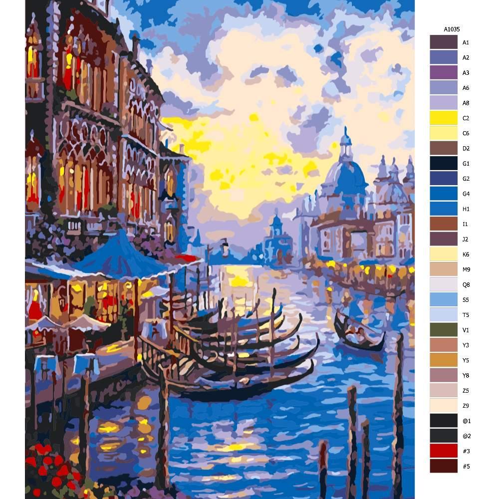 Návod pro malování podle čísel Večerní Benátky