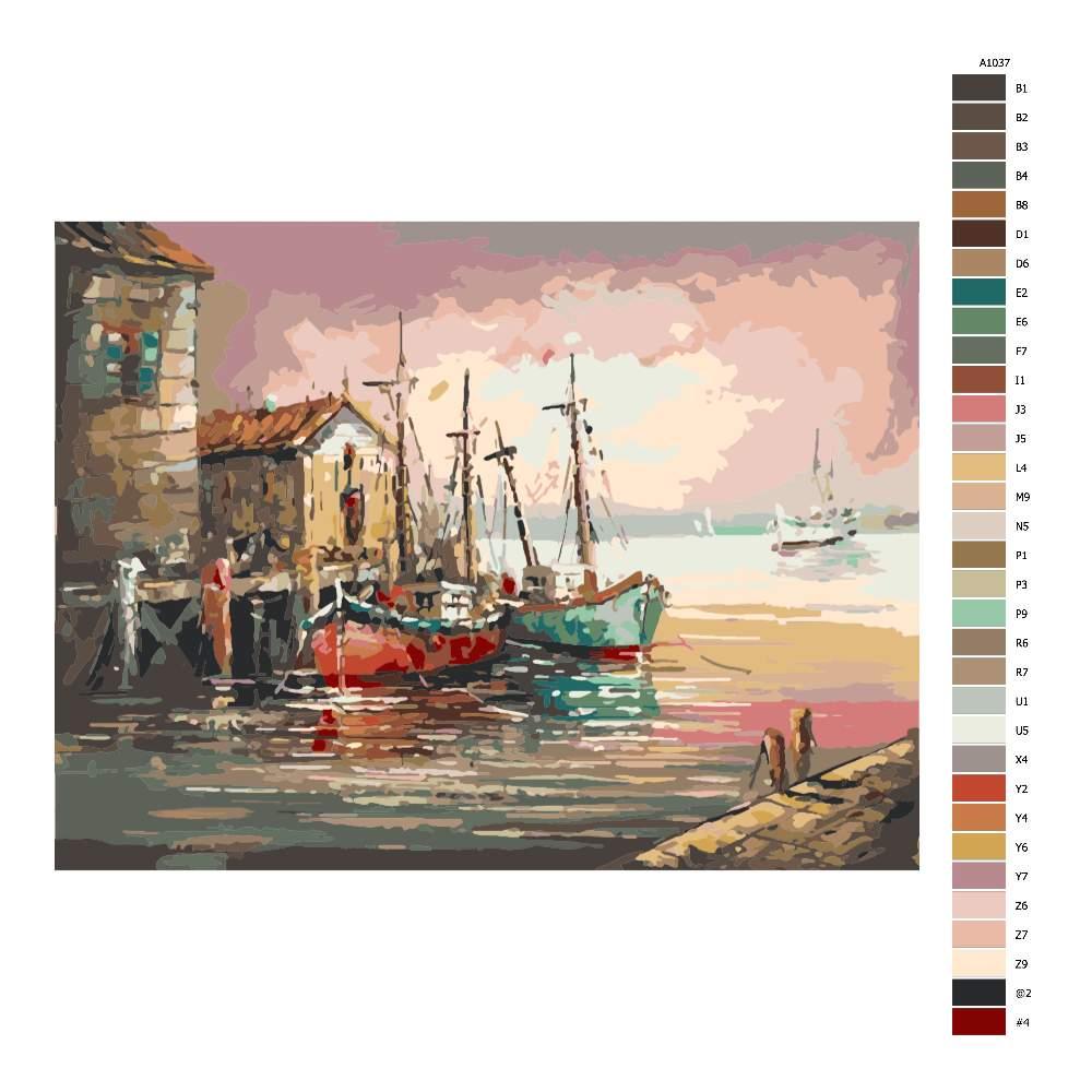 Návod pro malování podle čísel Starý přístav
