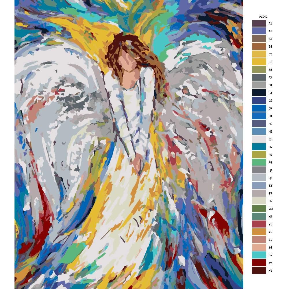 Návod pro malování podle čísel Anděl v barvách