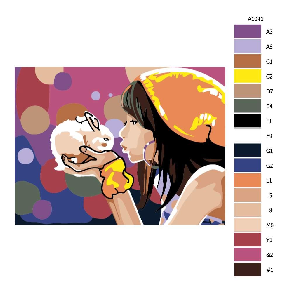 Návod pro malování podle čísel Dívka s králíčkem