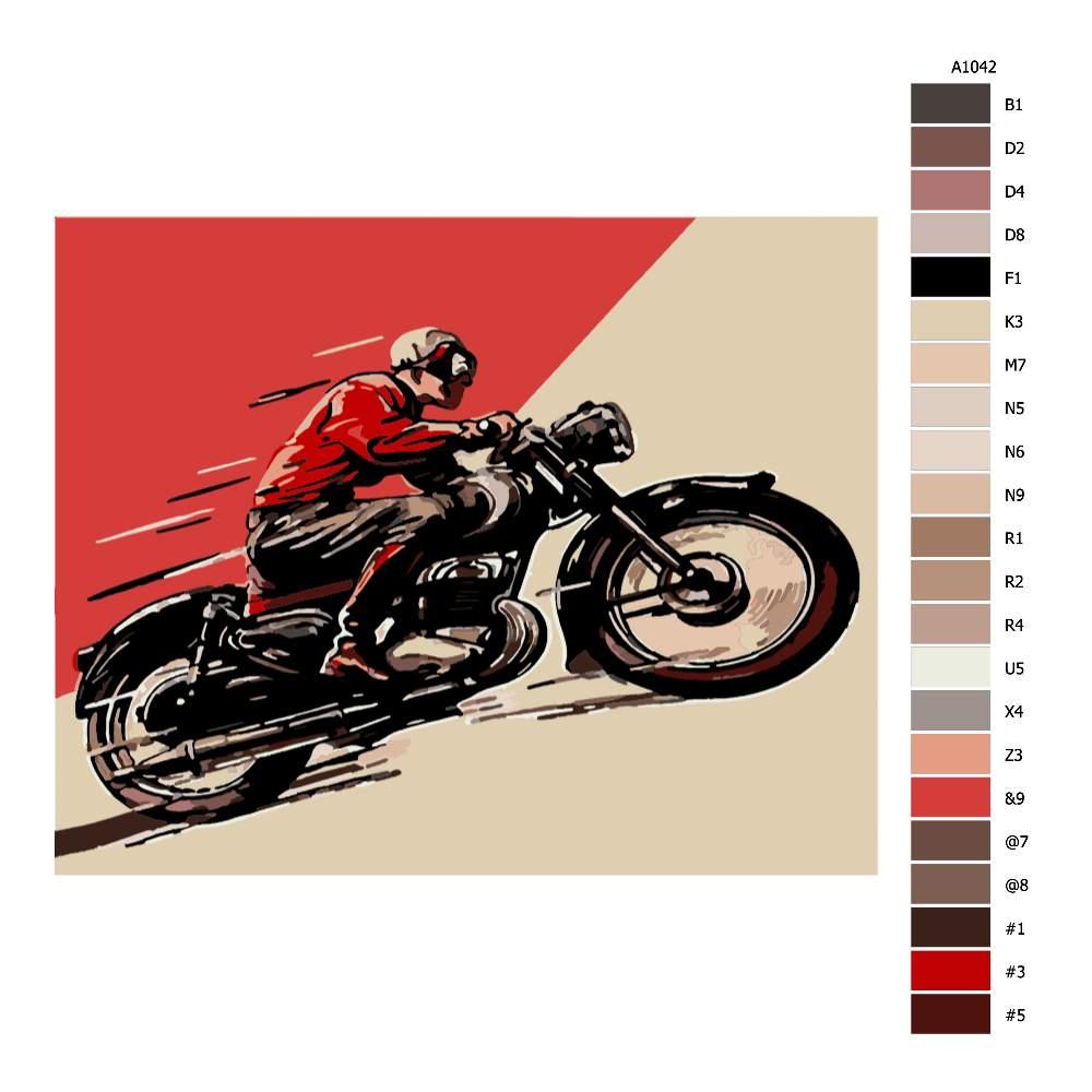 Návod pro malování podle čísel Historická motorka