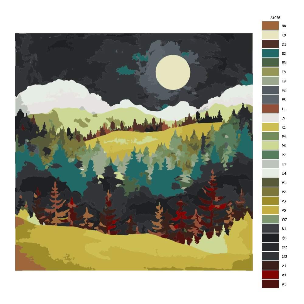 Návod pro malování podle čísel Večerní krajina
