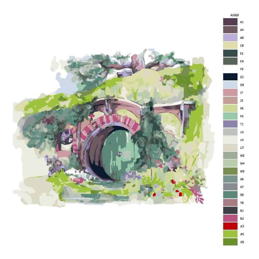 Návod pro malování podle čísel Dům hobitů