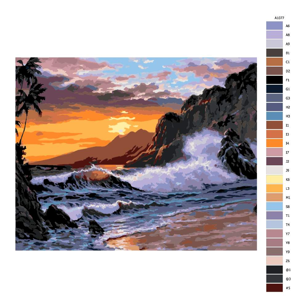 Návod pro malování podle čísel Západ slunce nad rozbouřeným mořem