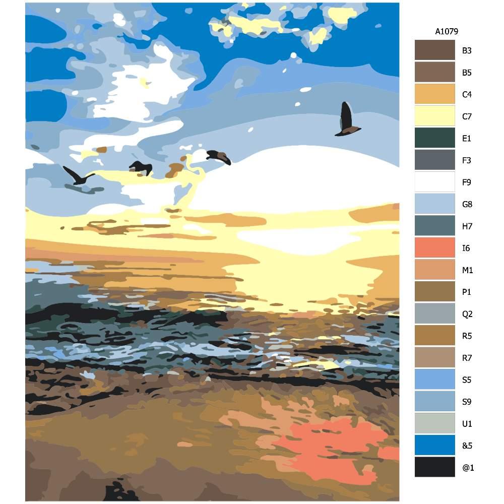 Návod pro malování podle čísel Západ slunce u moře