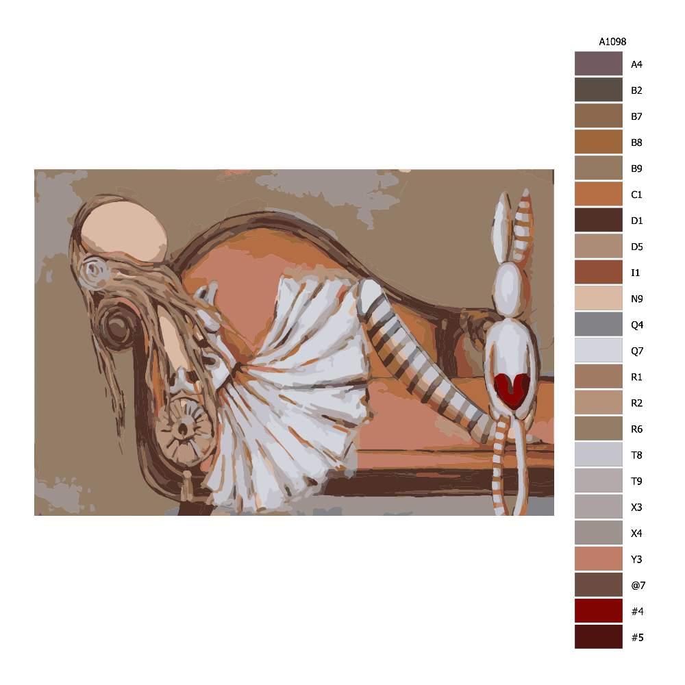 Návod pro malování podle čísel Dívka na otomanu