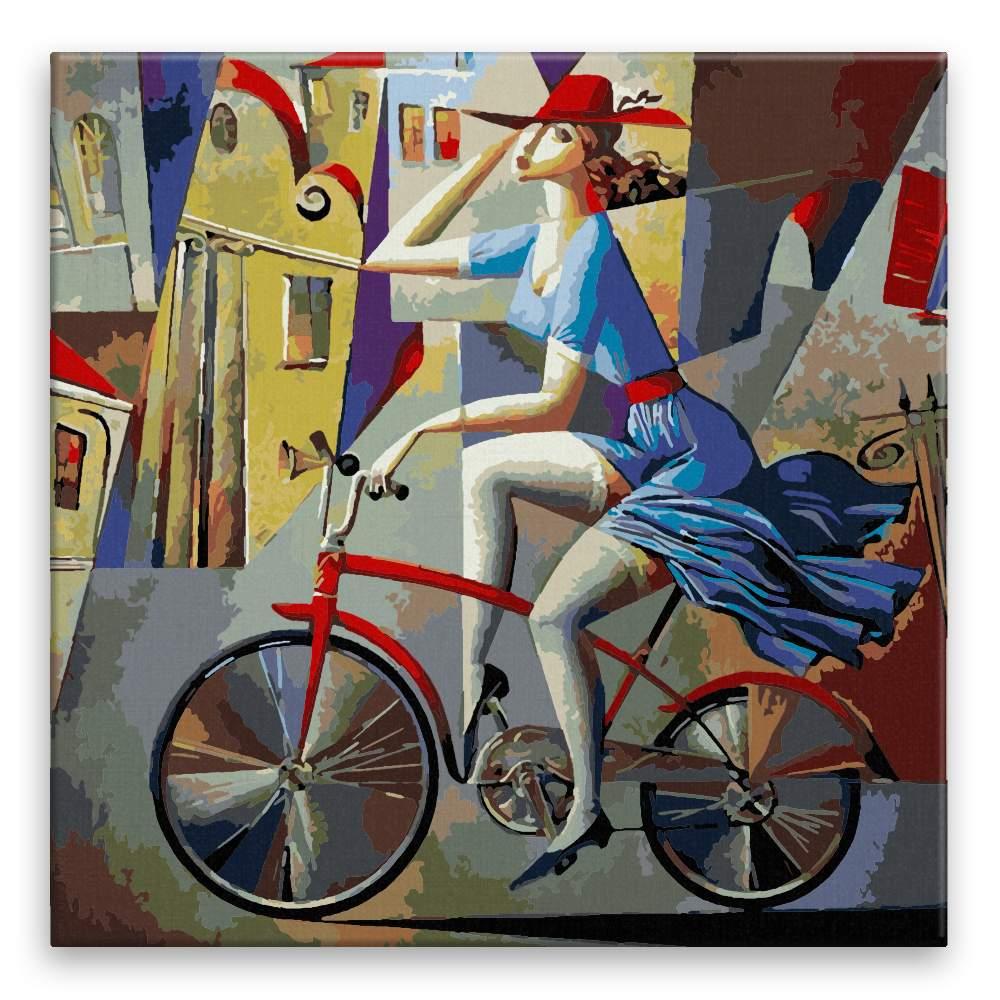 Malování podle čísel Žena na kole