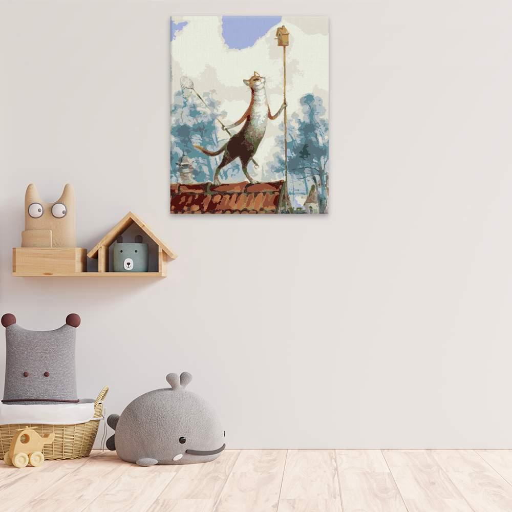 Malování podle čísel Kočka loví ptáky