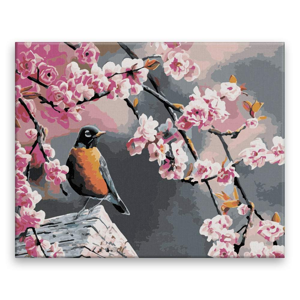 Malování podle čísel Pták a sakura