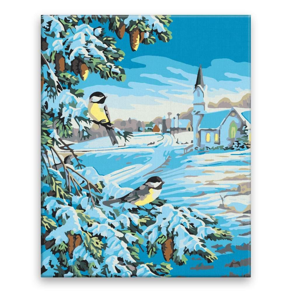 Malování podle čísel Ptáci na stromě v zimě