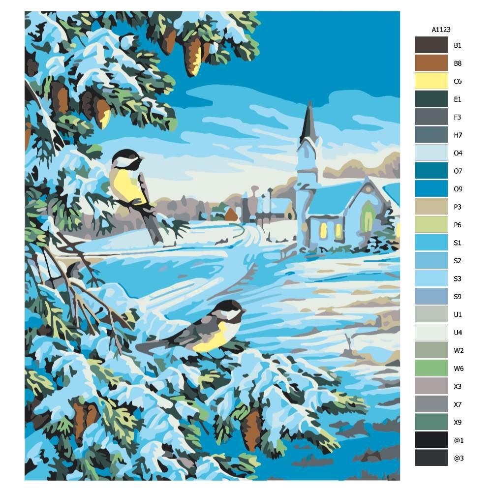 Návod pro malování podle čísel Ptáci na stromě v zimě