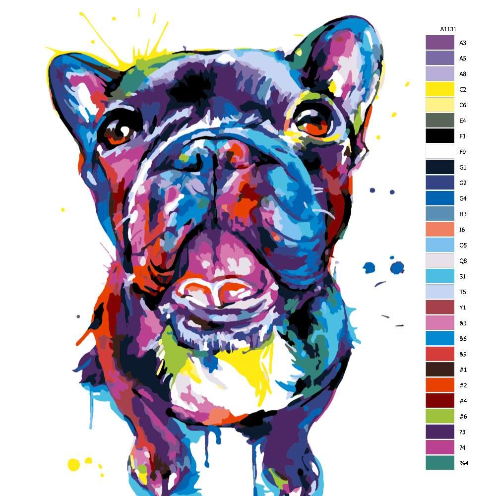 Návod pro malování podle čísel Buldoček v barvách