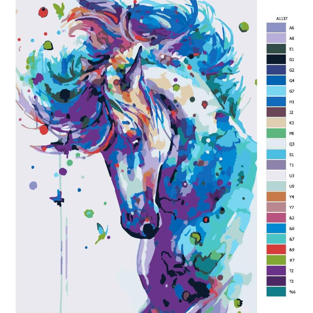Návod pro malování podle čísel Hřebec v barvách
