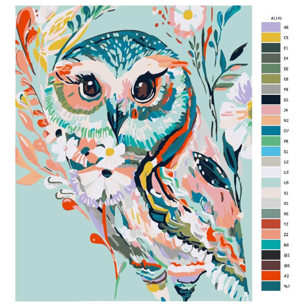 Návod pro malování podle čísel Barevná sova