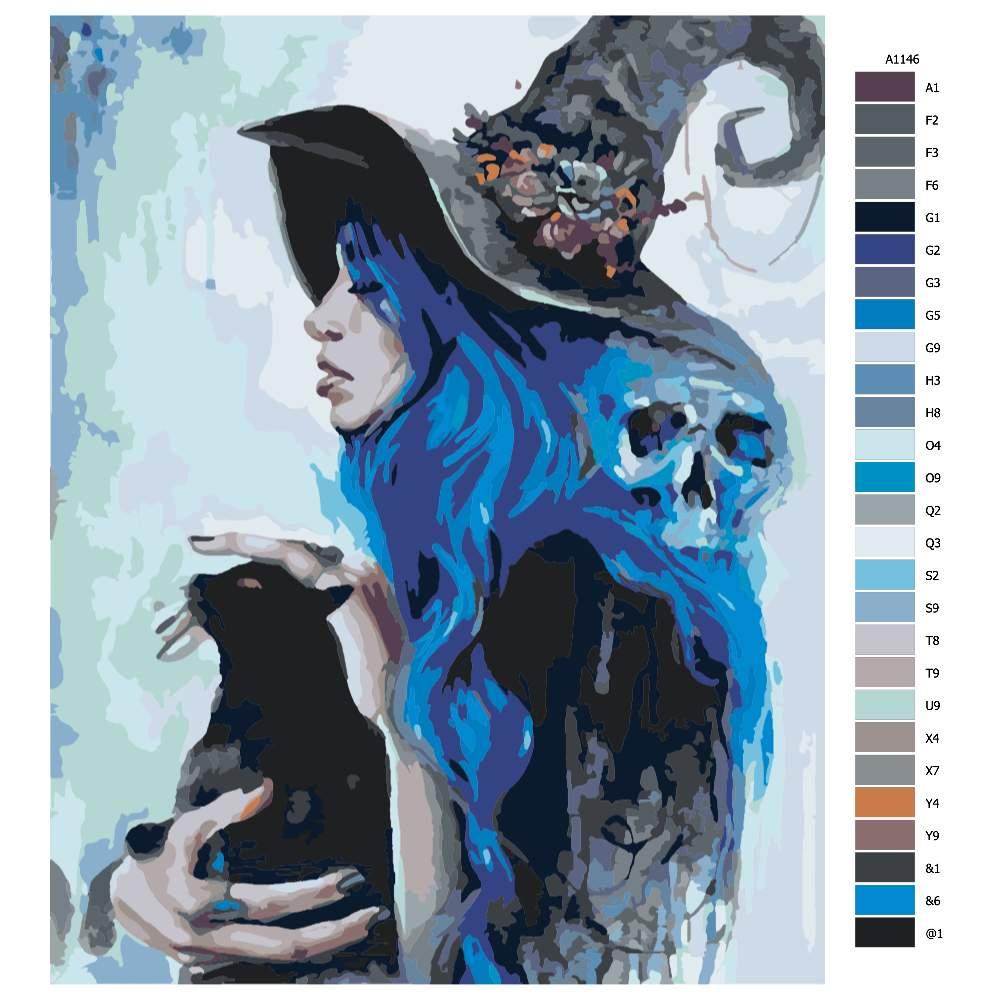Návod pro malování podle čísel Modré kouzlo