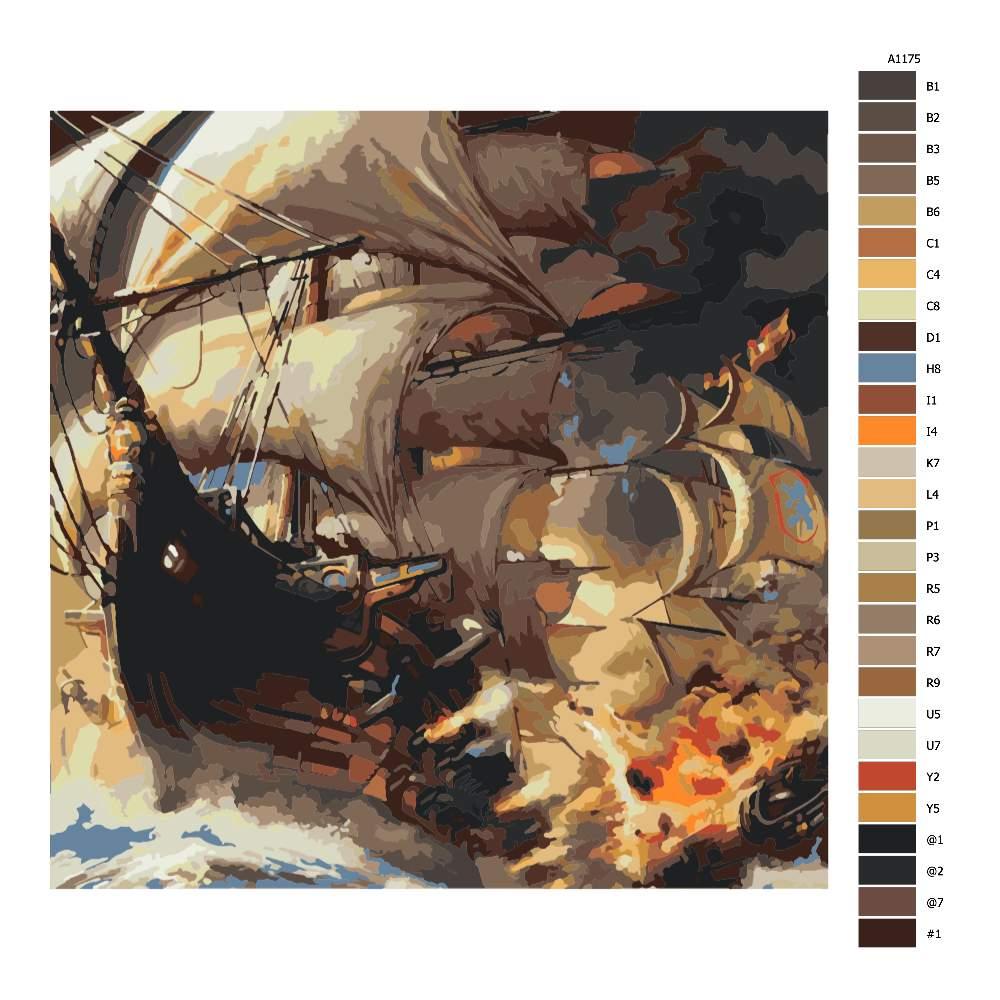 Návod pro malování podle čísel Hořící loď