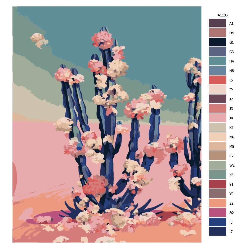 Návod pro malování podle čísel Kveoucí kaktus na sahaře