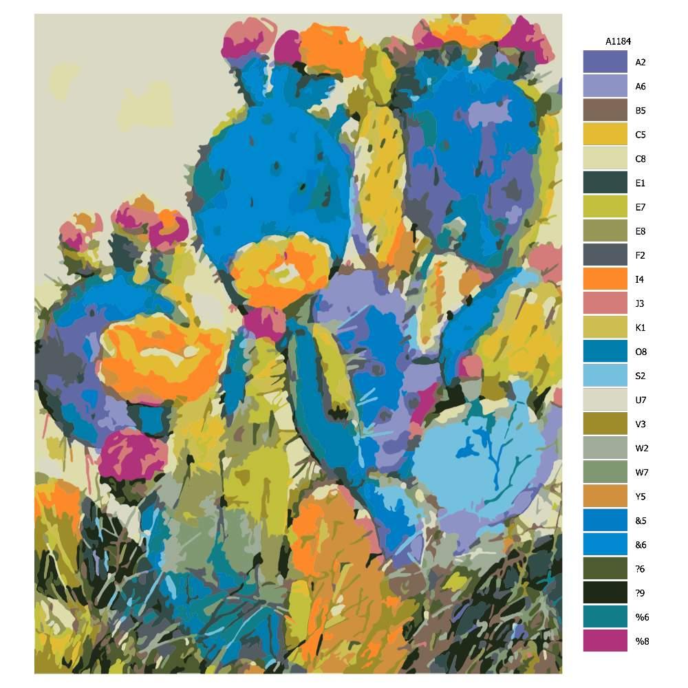 Návod pro malování podle čísel Různobarevný kaktus