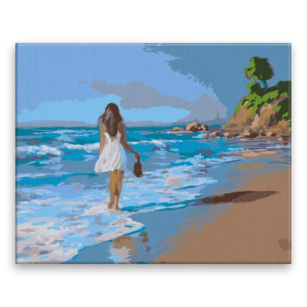 Malování podle čísel Dívka držící boty v moři