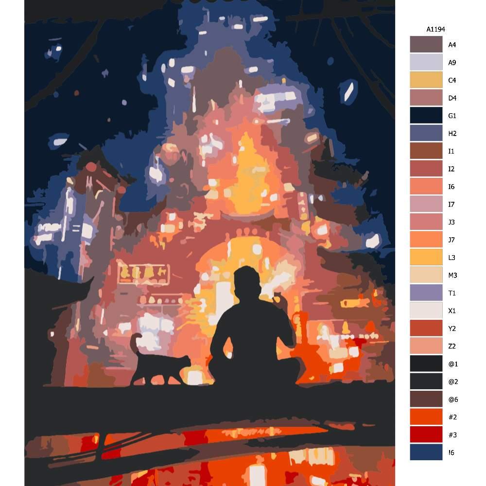 Návod pro malování podle čísel Muž hledící na město