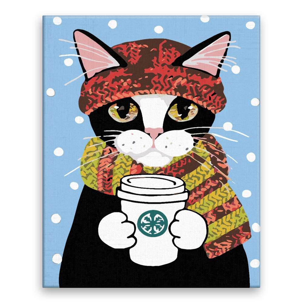 Malování podle čísel Kočka s kávičkou