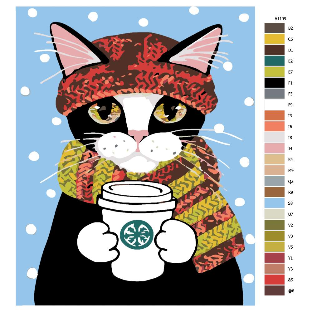 Návod pro malování podle čísel Kočka s kávičkou