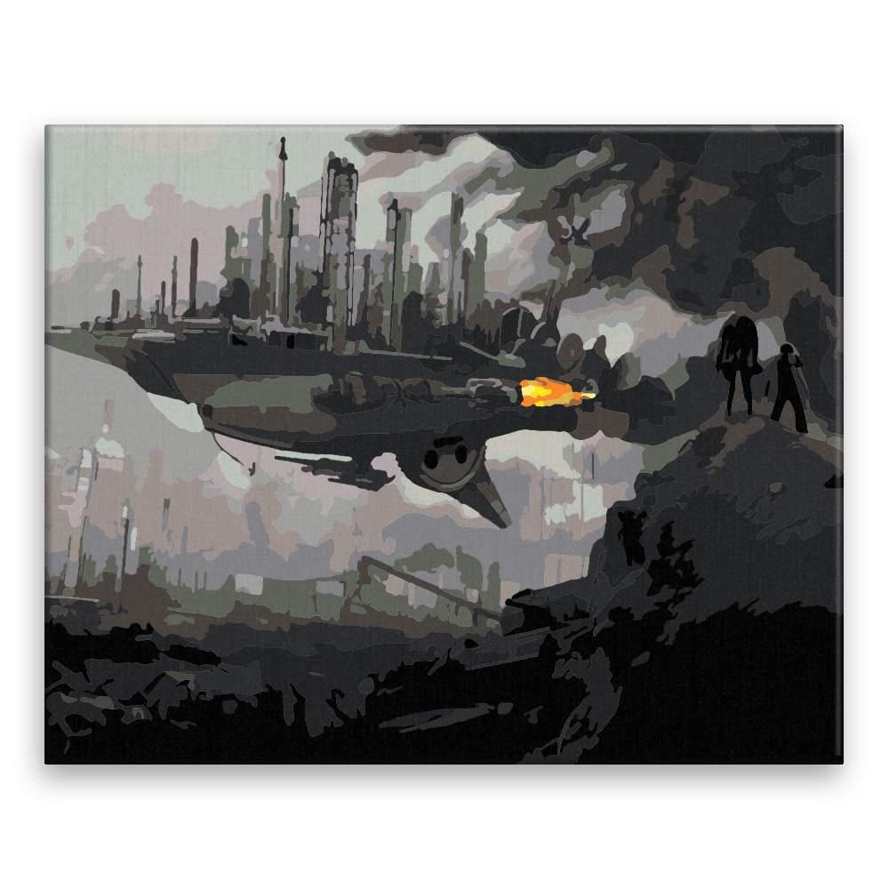 Malování podle čísel Město na lodi budoucnost