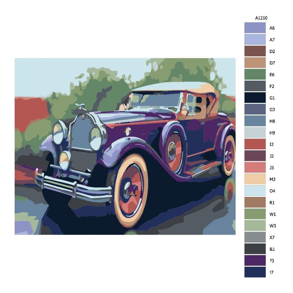 Návod pro malování podle čísel Historické auto