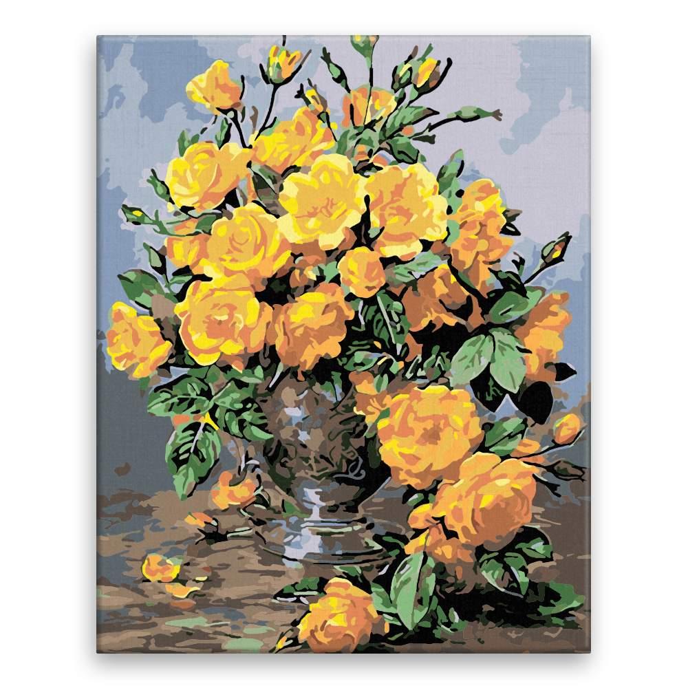Malování podle čísel Žluté růže zámecké