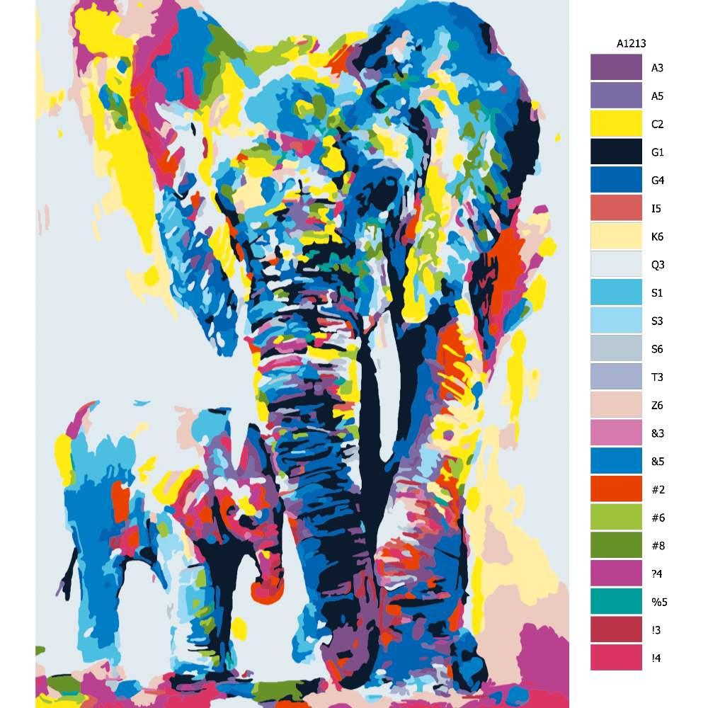 Návod pro malování podle čísel Slonice se slůnětem v barvách