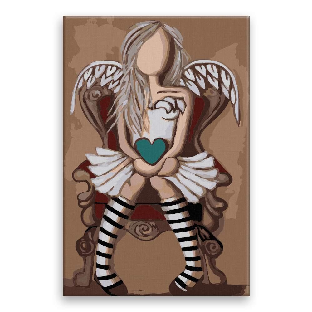 Malování podle čísel Anděl se srdcem na dlani