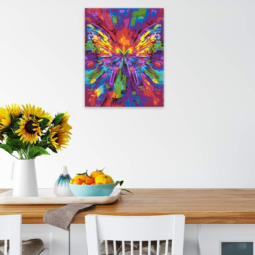 Malování podle čísel Barevný obtisk motýla