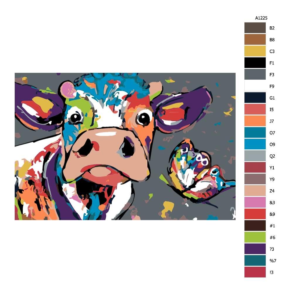 Návod pro malování podle čísel Hlava krávy s motýlem