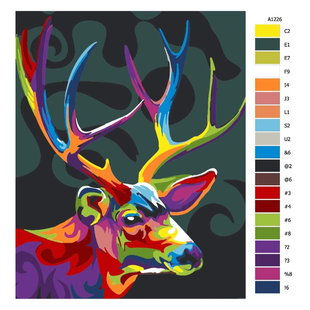 Návod pro malování podle čísel Jelení hlava s parožím v barvách