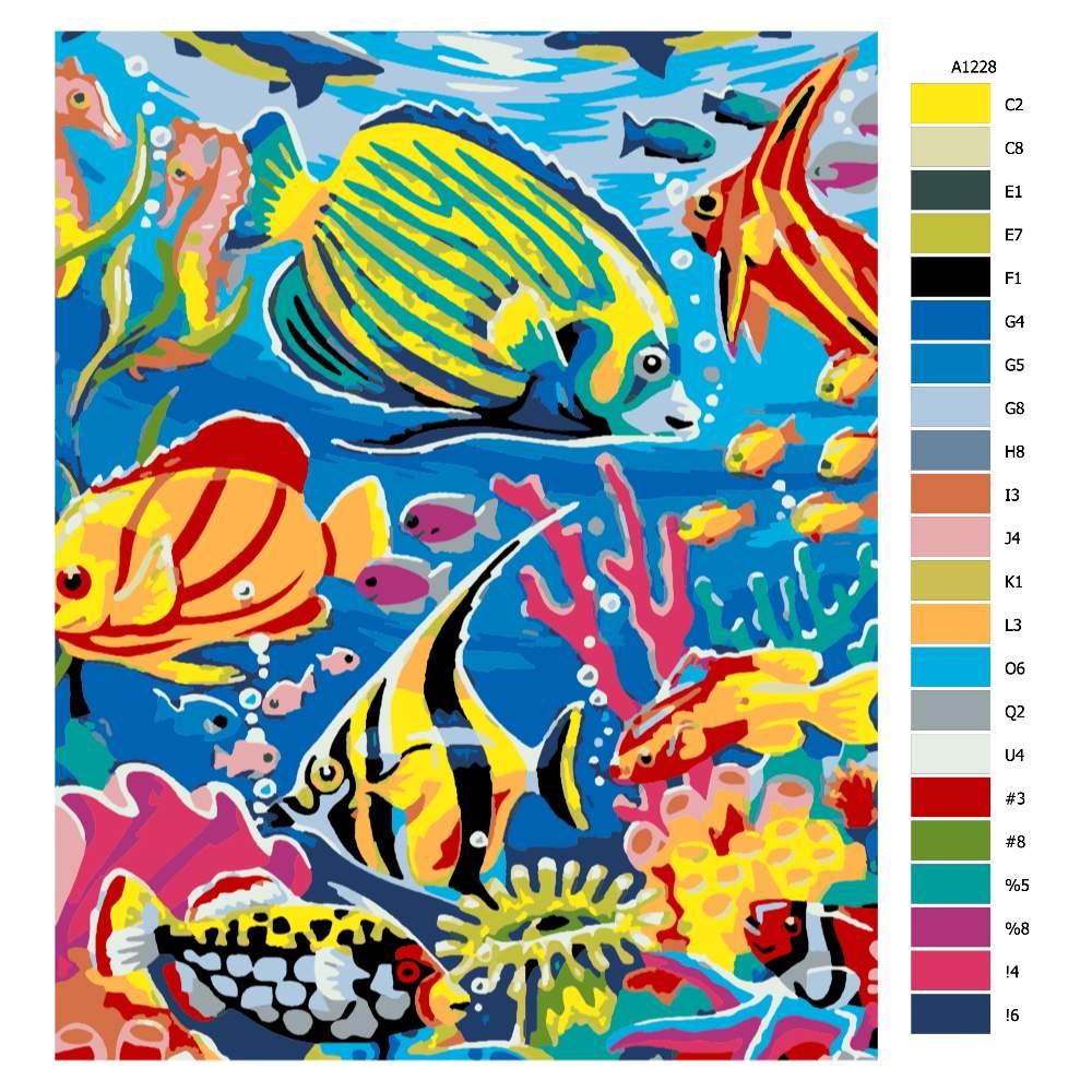 Návod pro malování podle čísel Mořský život v barvách