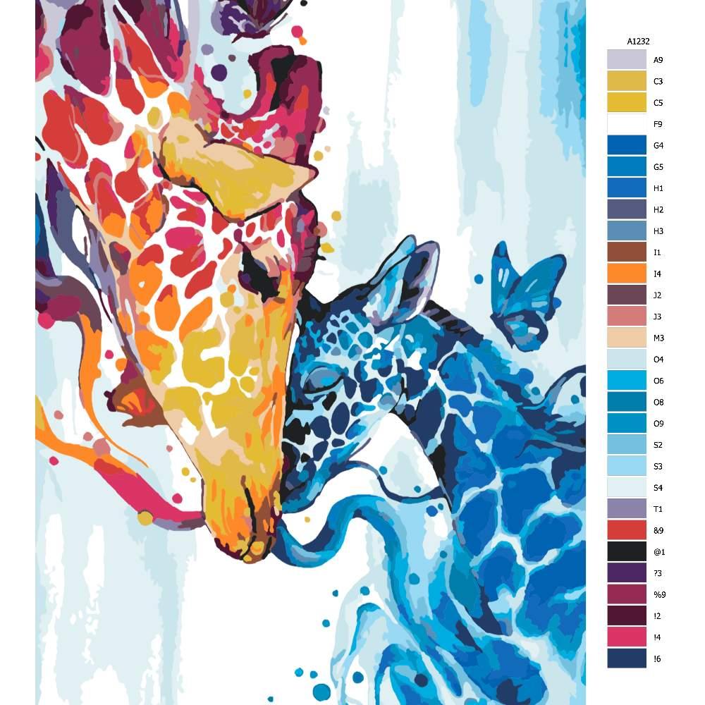 Návod pro malování podle čísel Žirafí láska