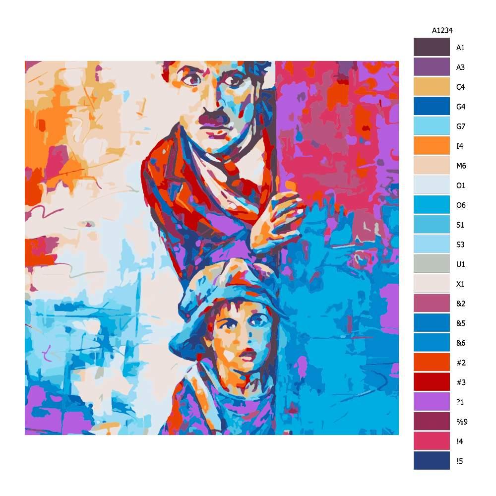 Malování podle čísel Charley Chaplin v barvách
