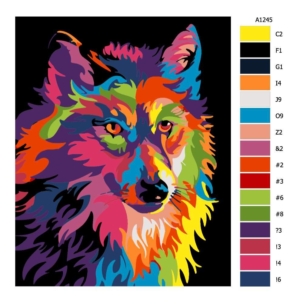 Návod pro malování podle čísel Vlčí hlava v barvách