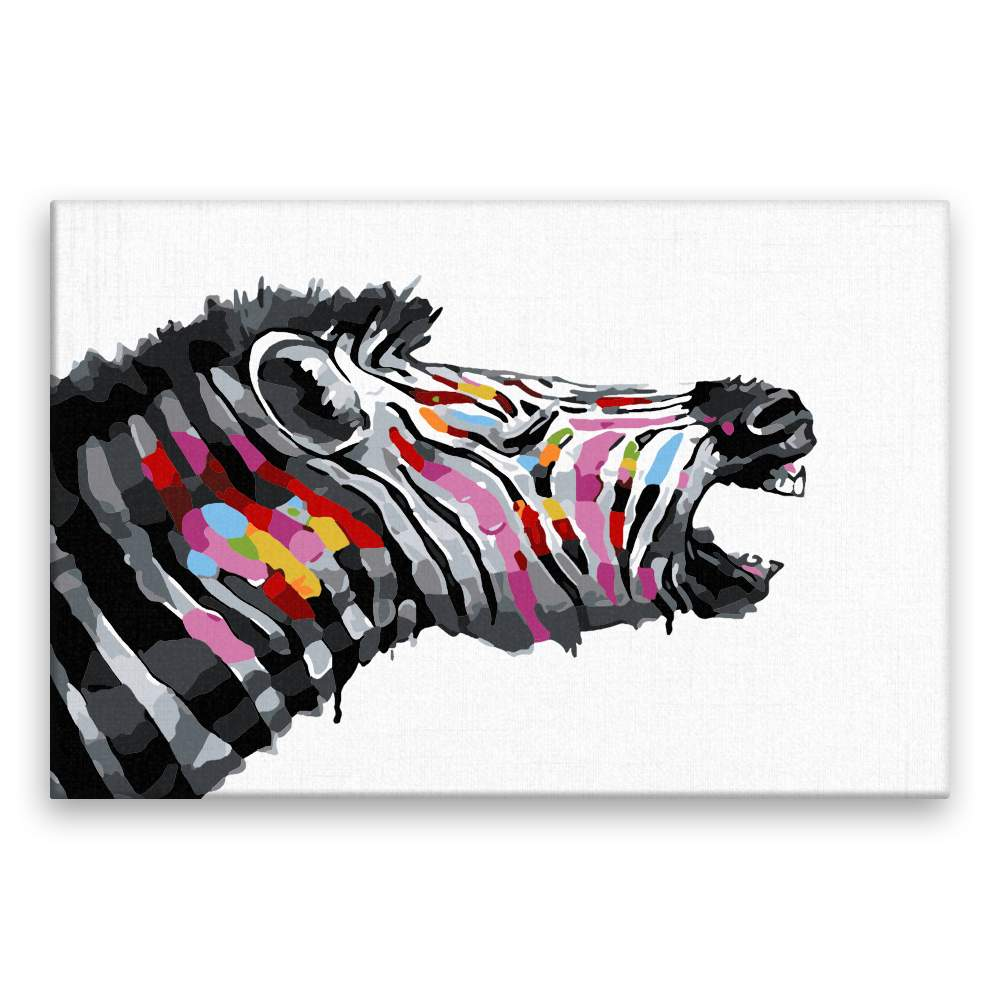 Malování podle čísel Zebra z boku v barvách