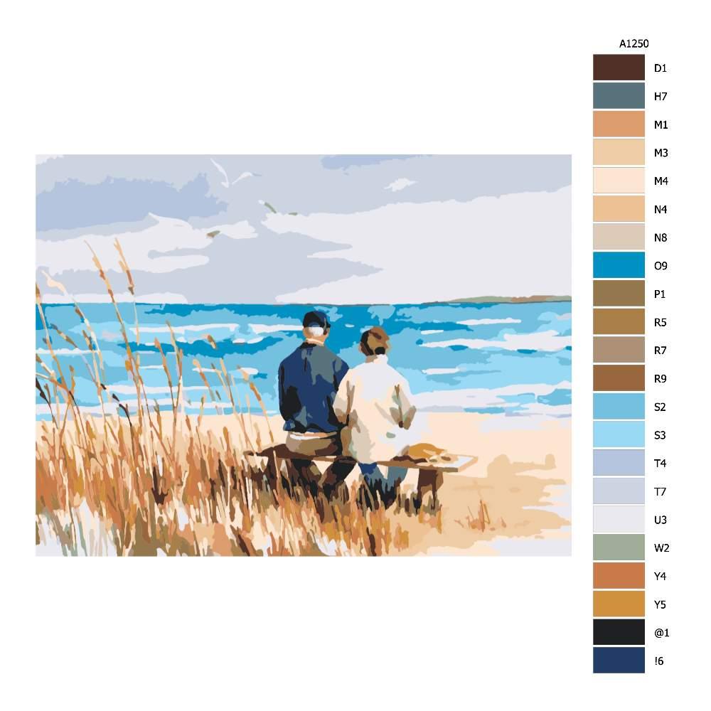 Návod pro malování podle čísel Pohled na moře ve dvou