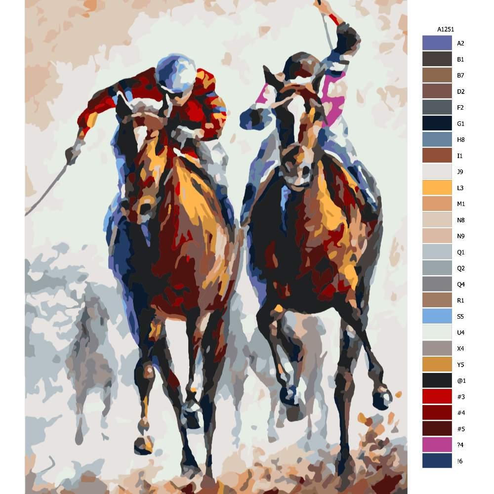 Malování podle čísel Žokej na koni