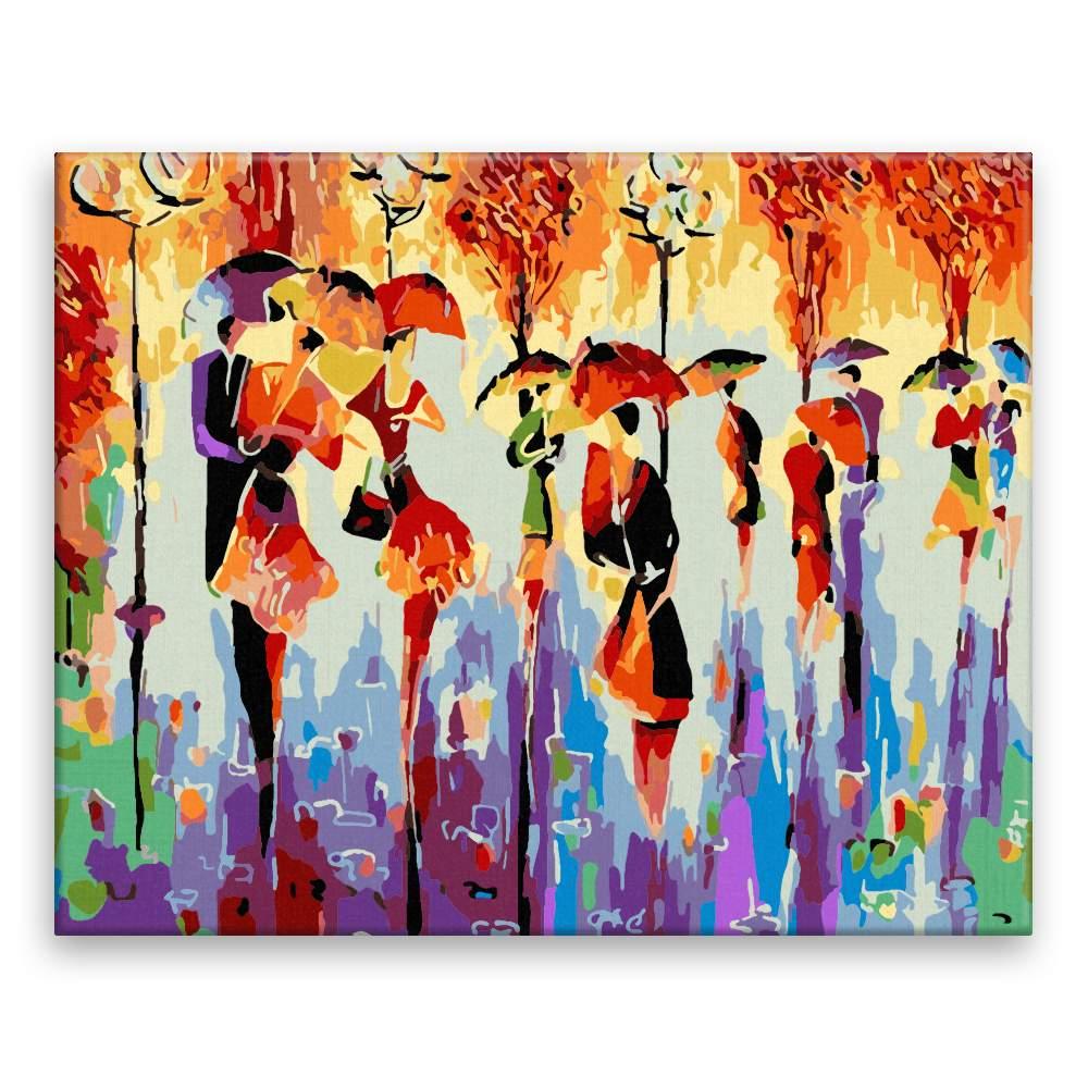 Malování podle čísel Páry s deštníky