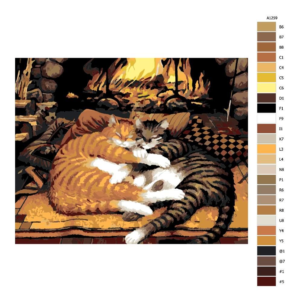 Návod pro malování podle čísel Kočičí láska