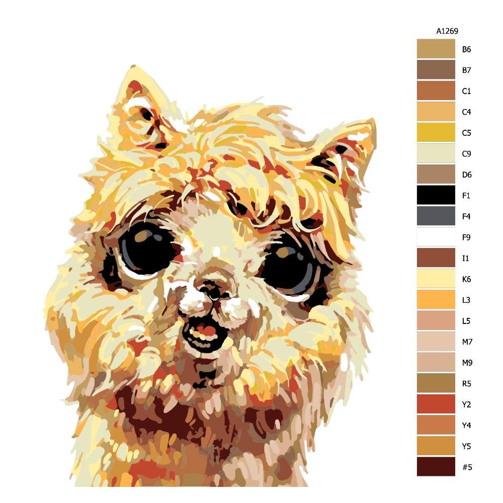 Návod pro malování podle čísel Usměvavá lama