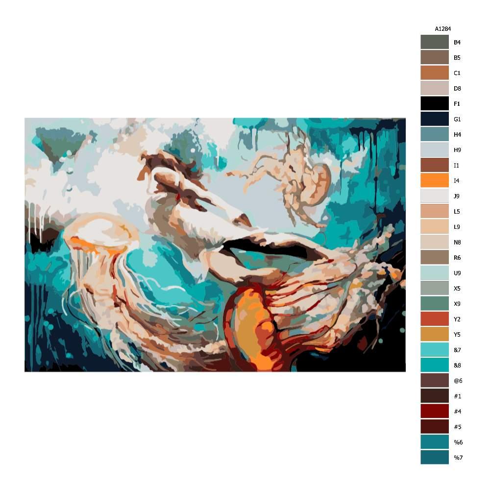 Návod pro malování podle čísel Dívka a medúzy