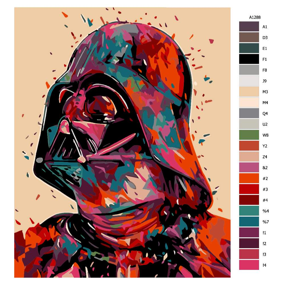 Návod pro malování podle čísel Darth Vader v barvách