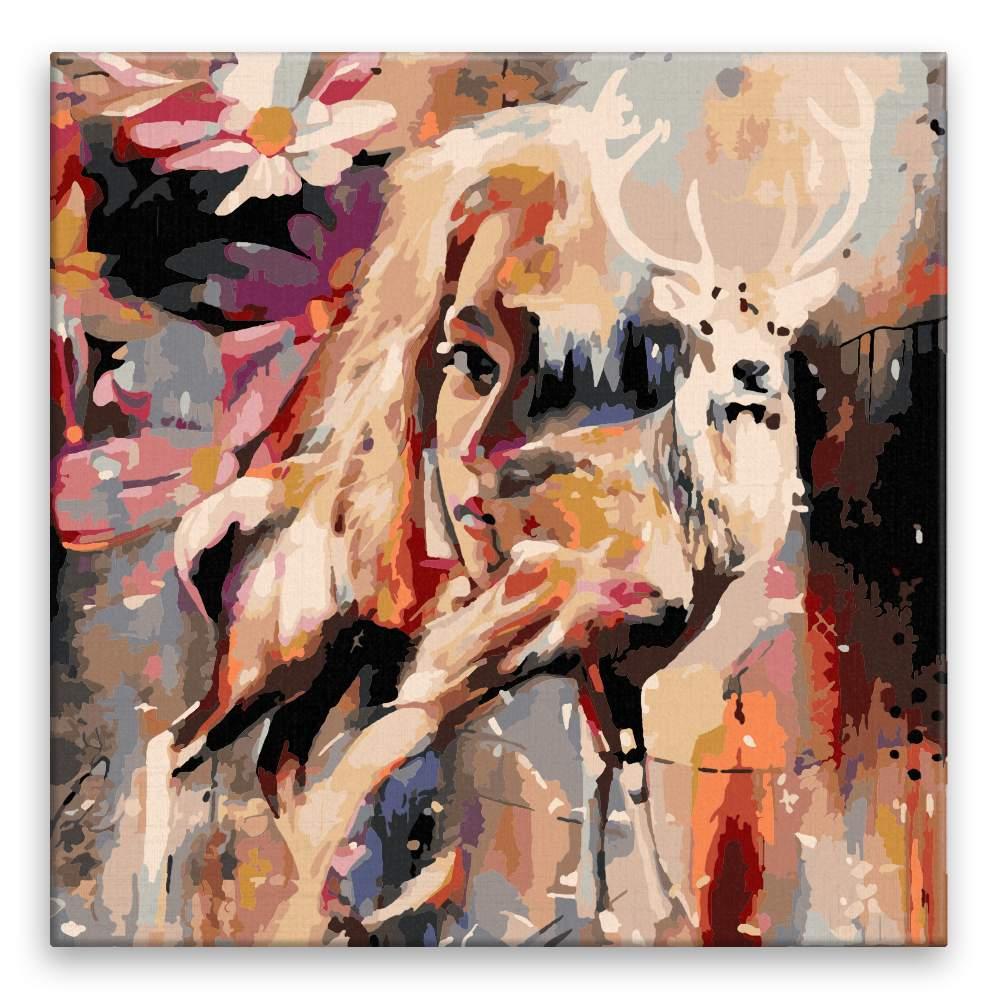 Malování podle čísel Ona s jelenem