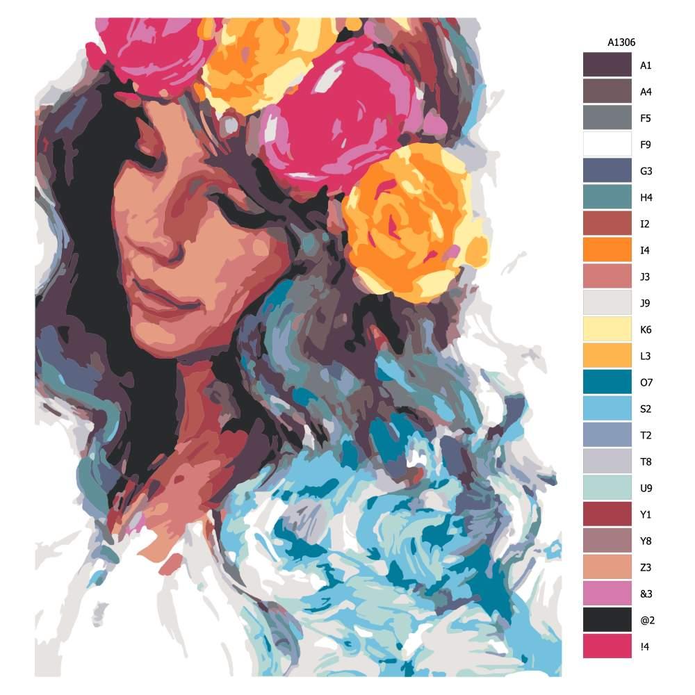 Návod pro malování podle čísel Dívka s květinovou čelenkou
