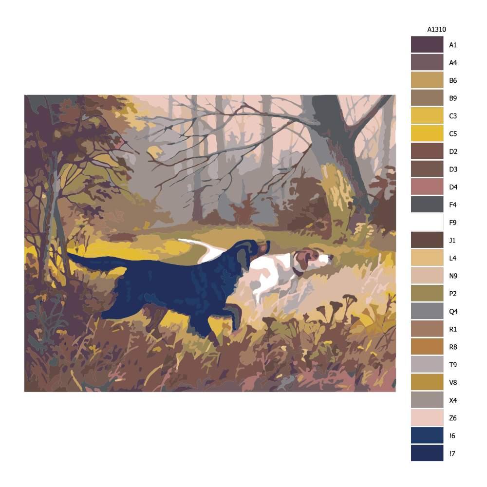 Návod pro malování podle čísel Lovečtí psi